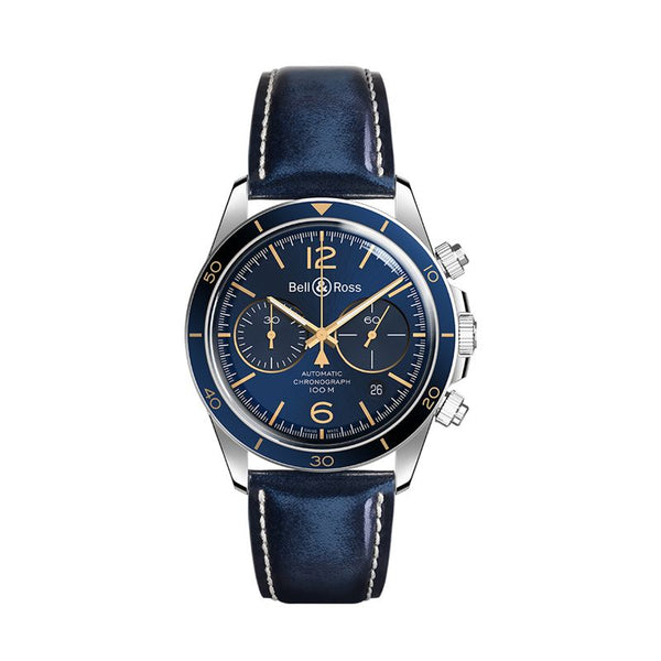 Bell & Ross BR V2 Vintage V2-94 Aeronavale Chronograph 41mm Blue Dial - The Luxury Well