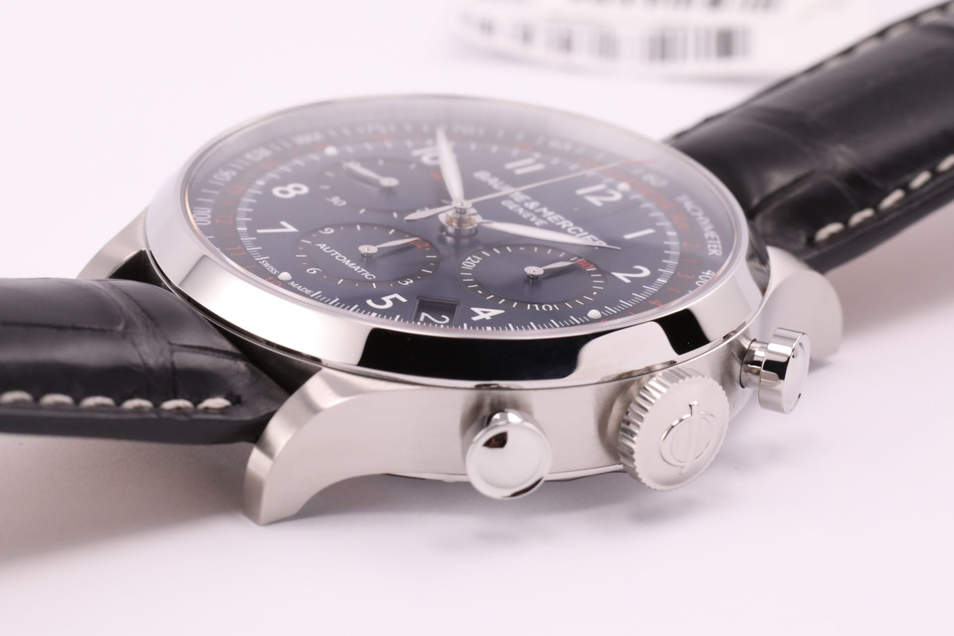Baume et Mercier Capeland Automatic Chronograph Blue Dial Black Alligator