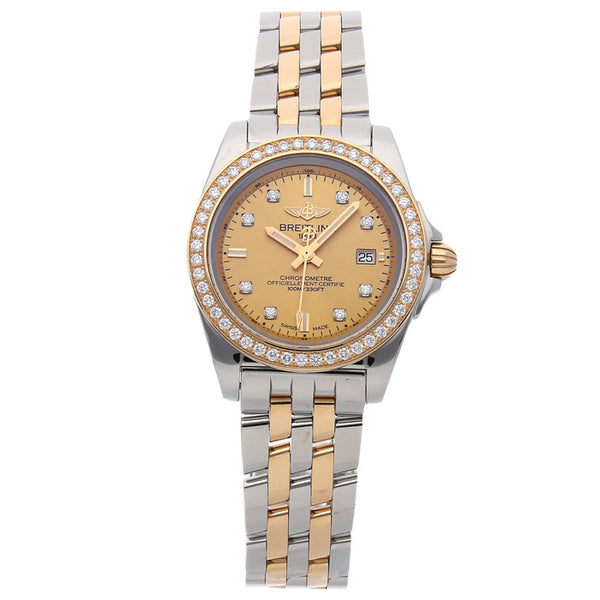 Breitling GALACTIC 32 Sleek Diamond Bezel Steel & Rose Gold - The Luxury Well