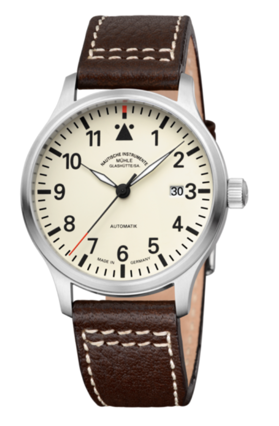 Mühle Glashütte Terrasport II Cream Dial Leather Strap 40mm - The Luxury Well