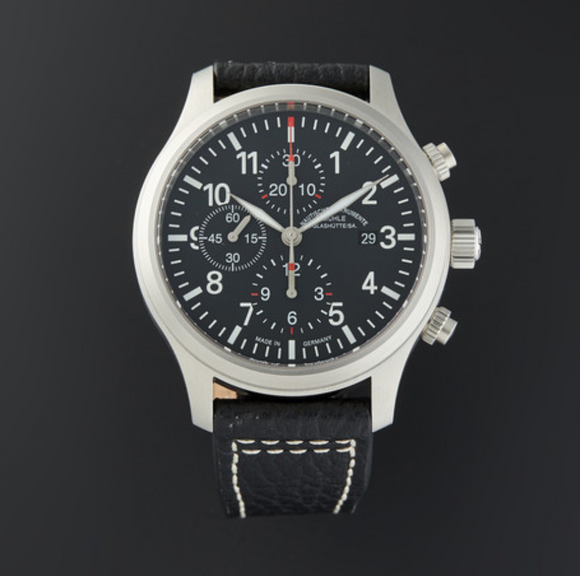 Mühle Glashütte Terrasport I Chronograph Stainless Steel Black 44mm Dial - The Luxury Well