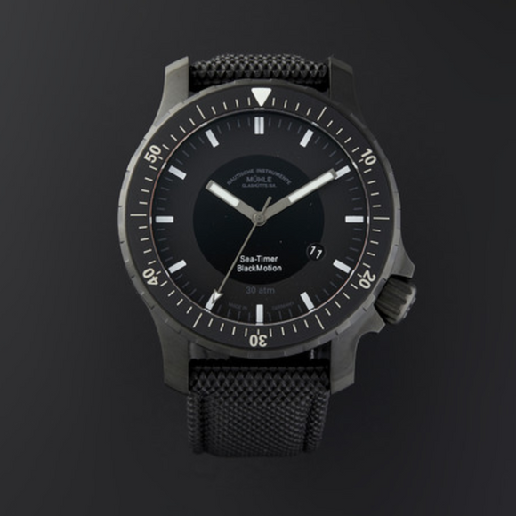 Mühle Glashütte Sea-Timer BlackMotion Black 44mm Dial - The Luxury Well