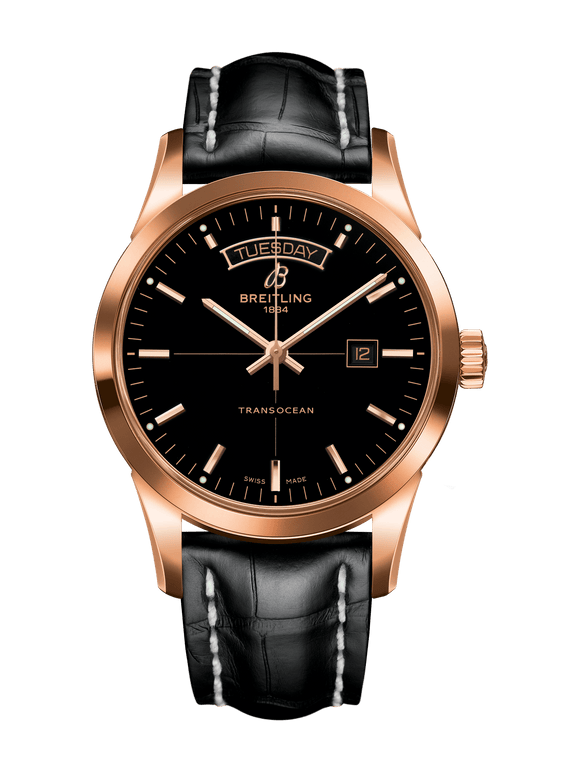 Breitling Transocean Day & Date 18k Red gold - Black - The Luxury Well