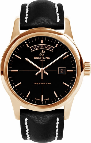 Breitling Transocean Day & Date 18k Red gold - Black 43mm Dial - The Luxury Well