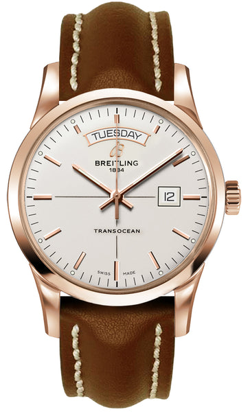 Breitling Transocean Day & Date 18k Red gold - Silver 43mm Dial - The Luxury Well