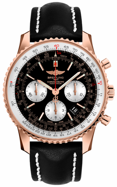 Breitling Navitimer 01 18kt Red Gold Black Dial