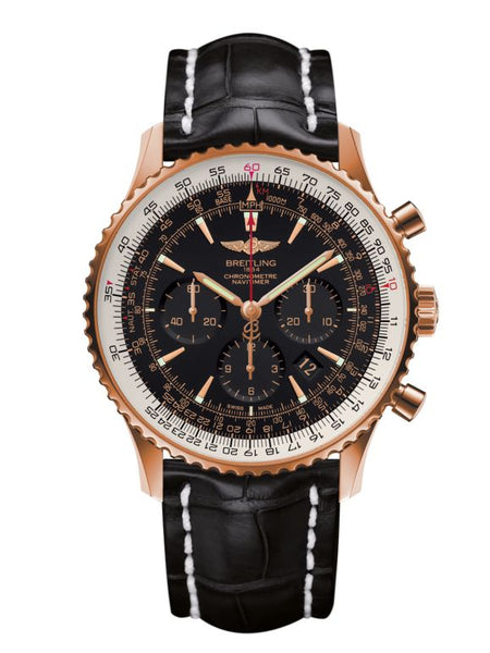Breitling Navitimer 01 18kt Red Gold Crystal Back Limited Edition - The Luxury Well