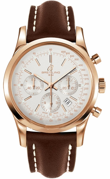 Breitling Transocean Chronograph 18k Rose gold - Silver 43mm Dial - The Luxury Well