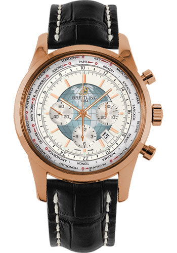 Breitling Transocean Chronograph Unitime Red Gold / Silver 46MM - The Luxury Well