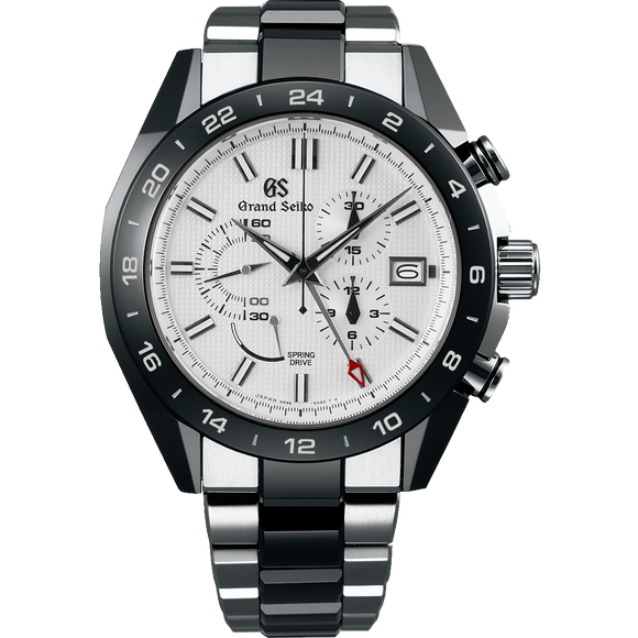 Grand Seiko Spring Drive Ceramic Titanium Chronograph GMT White Dial - The Luxury Well