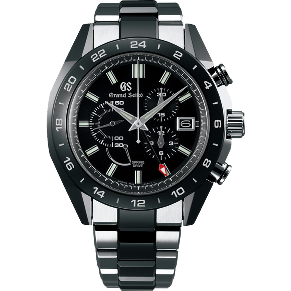 Grand Seiko Spring Drive Ceramic Chronograph GMT Black Dial - The Luxury Well