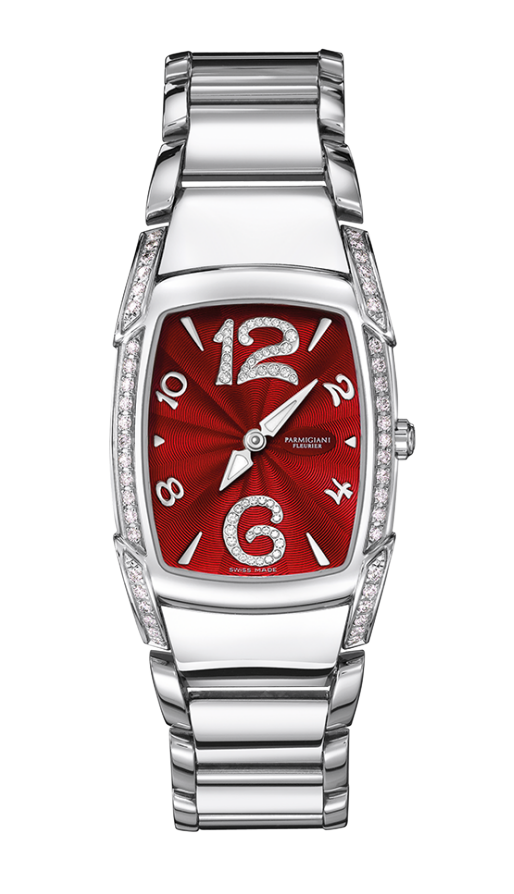 Parmigiani Fleurier Kalpa Piccola Steel Set 29.5 x 24.5 mm red dial - The Luxury Well