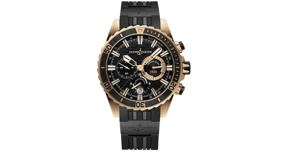 Ulysse Nardin Marine Diver Chronograph Manufacture 18kt Rose Gold - The Luxury Well