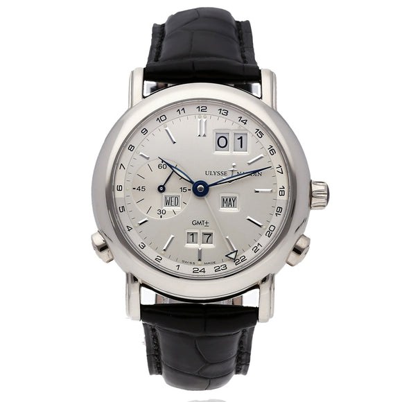 Ulysse Nardin GMT Perpetual Grey Dial 18kt White Gold 38.5mm - The Luxury Well