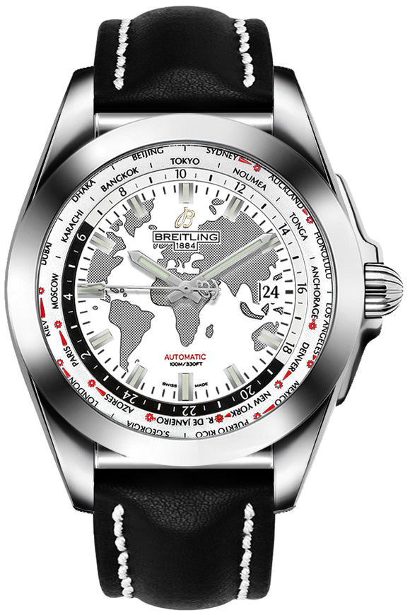 Breitling Galactic Unitime World Map White 44mm Dial - The Luxury Well
