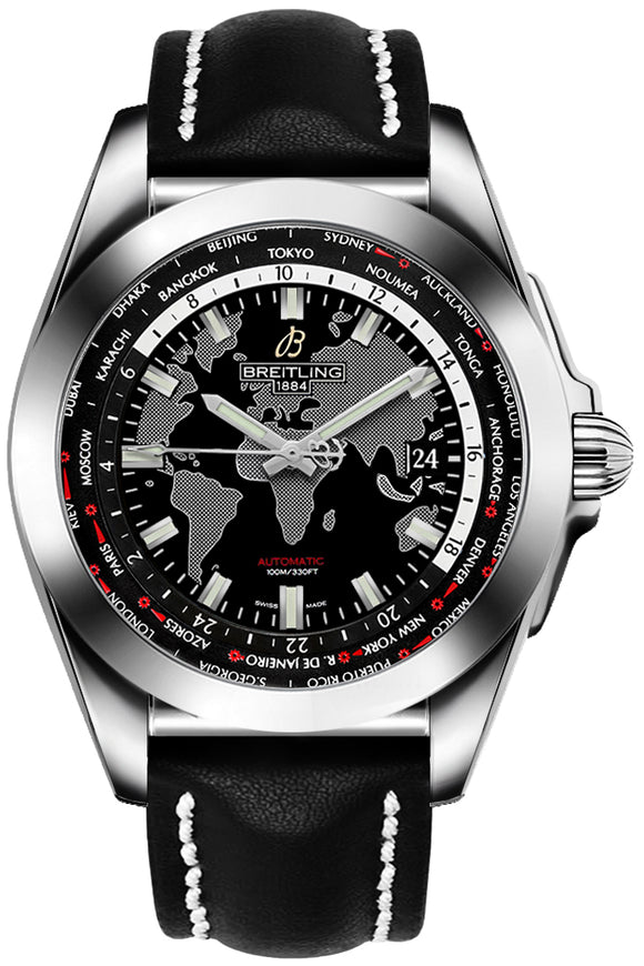 Breitling Galactic Unitime World Map Black 44mm Dial - The Luxury Well