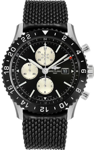 Breitling Chronoliner Stainless Steel Black Dial - The Luxury Well