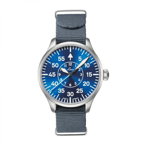 Laco Pilot Watch Basic AACHEN BLAUE STUNDE Blue Dial 39mm - The Luxury Well