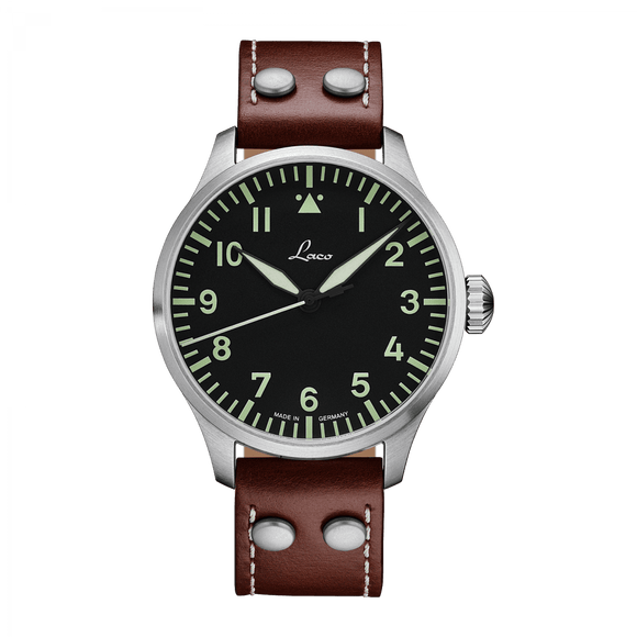 Laco Pilot Watch Basic AUGSBURG Black Dial 42mm - The Luxury Well