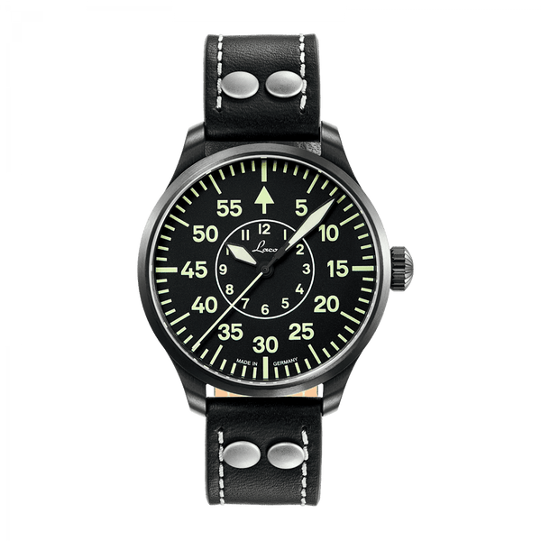 Laco Pilot Watch Basic BIELEFELD Black Dial 39mm - The Luxury Well