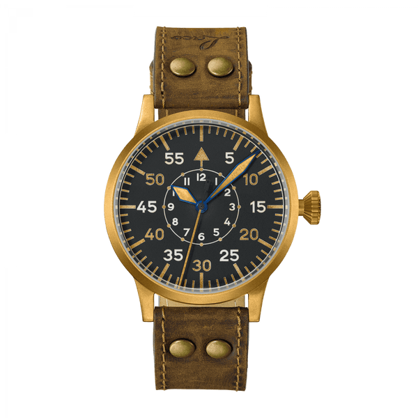Laco Pilot Watch Original FRIEDRICHSHAFEN BRONZE Black Dial 45 mm - The Luxury Well