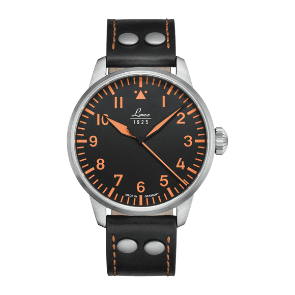 Laco Pilot Watch Basic NEAPEL Black Superluminova Dial 42mm - The Luxury Well