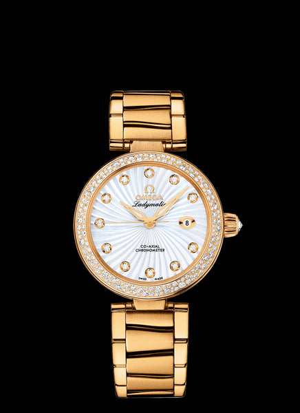Omega DeVille Ladymatic Co-Axial 34mm 18kt Yellow Gold with Diamonds - The Luxury Well