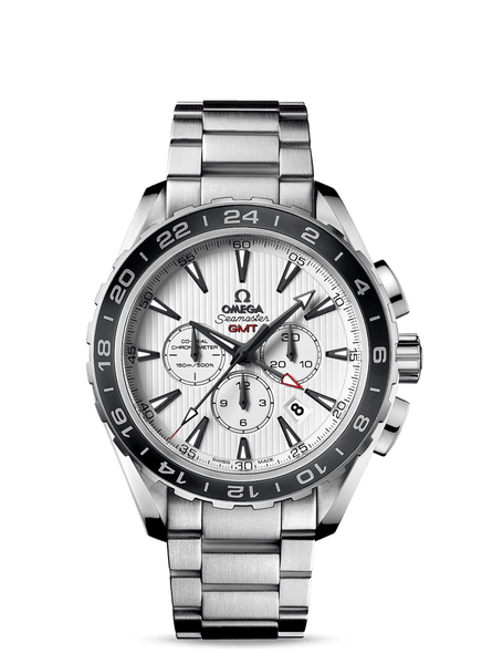 Omega Seamaster Aqua Terra GMT Chronograph White Dial Bracelet - The Luxury Well