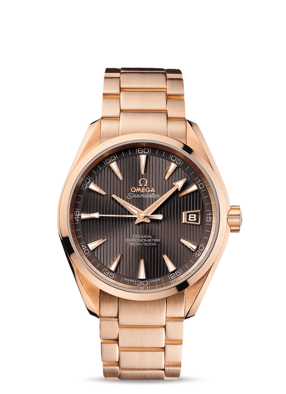 Omega Seamaster Aqua Terra 18kt Gold Espresso Dial - The Luxury Well