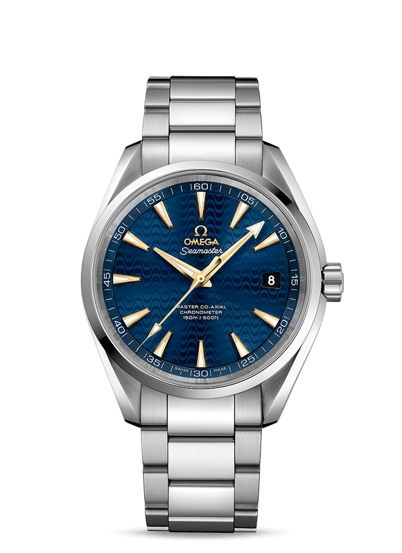 Omega Seamaster Aqua Terra 41.5 mm Blue Wave Dial Gold Makers - The Luxury Well
