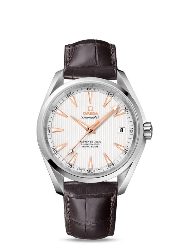 Omega Aqua Terra 150M Silver/Gold Co‑Axial 41.5 mm Alligator - The Luxury Well