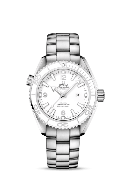 Omega white Planet Ocean 600m Co‑Axial 37.5mm - The Luxury Well
