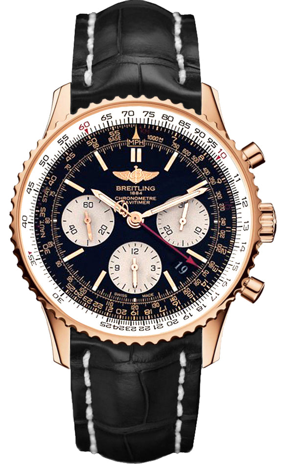 Breitling Navitimer 01 18kt Red Gold Black Dial - The Luxury Well
