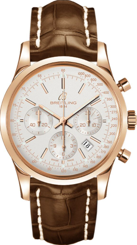 Breitling Transocean Chronograph 18k Rose gold - Silver 43mm Dial