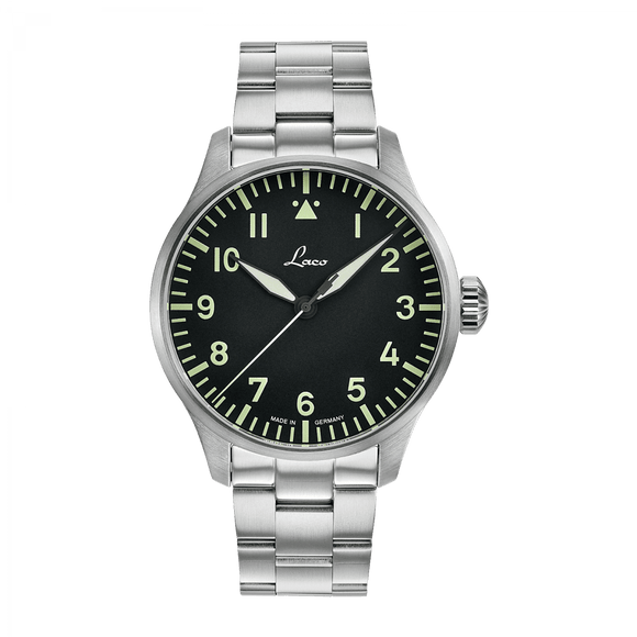 Laco Pilot Watch Basic ROM Black Superluminova Dial 42mm - The Luxury Well