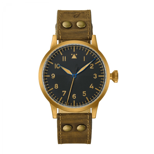 Laco Pilot Watch Original SAARBRÜCKEN BRONZE Black Dial 45 mm - The Luxury Well