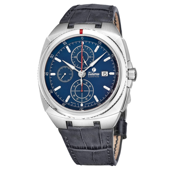 Tutima Glashuette Saxon One Chronograph Blue 43mm - The Luxury Well