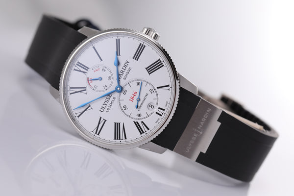 Ulysse Nardin Marine Chronometer Torpilleur 42mm white dial - The Luxury Well