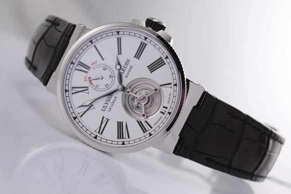 Ulysse Nardin Marine Tourbillon 43mm white dial - The Luxury Well