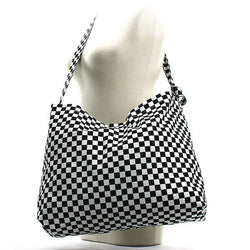 Race Checkered Print Hobo Bag
