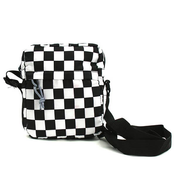 Checkered Print Small Shoulder Bag