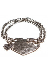 Burnished Silver Heart Toggle Bracelet