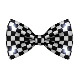 Black And White Checkered Bow Tie With White LED Lights