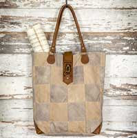 Patchwork Canvas and Leather Upright Tote