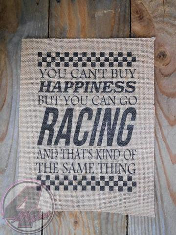Happiness & Racing Burlap Print
