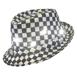 LED Flashing Fedora Hat With Checkered Sequins
