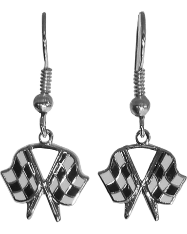 Silver Crossed Checkered Flag Earrings