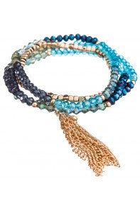 Gold Blue Tassel Stretch Bracelet Set