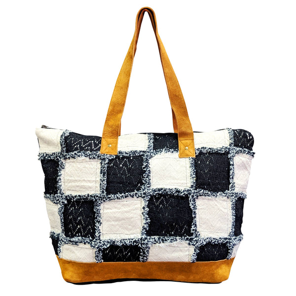 Black White Checker Tote Bag