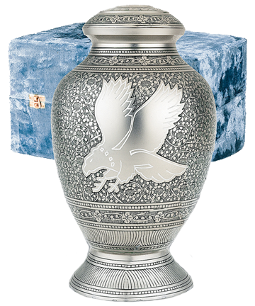 Silver Eagle Solid Brass Urn